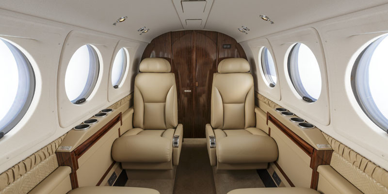 Interior photography of the Beechcraft King Air 250. Beechcraft Delivery Center (BEC) Wichita KS USA